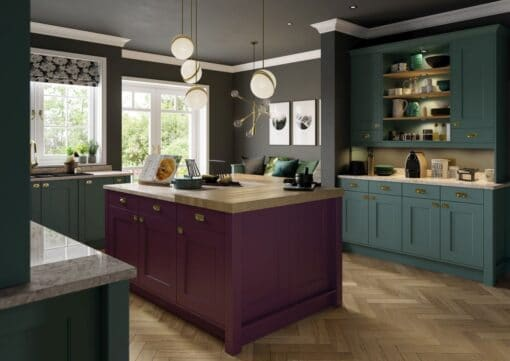 Cherington Viridian & Deep Heather - from Riley James Kitchens Stroud