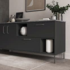 Cricklade stained Truffle Grey and Cerney Matte Graphite_Cameo 4_ - By Riley James Kitchens, Stroud