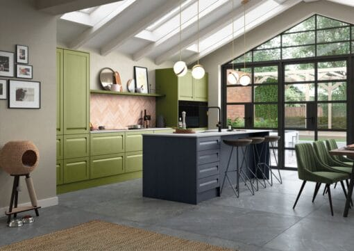 Haresfield Slate Blue, Stone and Citrus Green_Cameo 1_ - By Riley James Kitchens, Gloucestershire