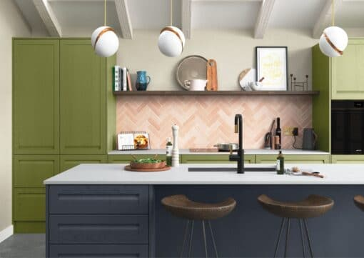 Haresfield Slate Blue, Stone and Citrus Green_Cameo 2_ - By Riley James Kitchens, Gloucestershire
