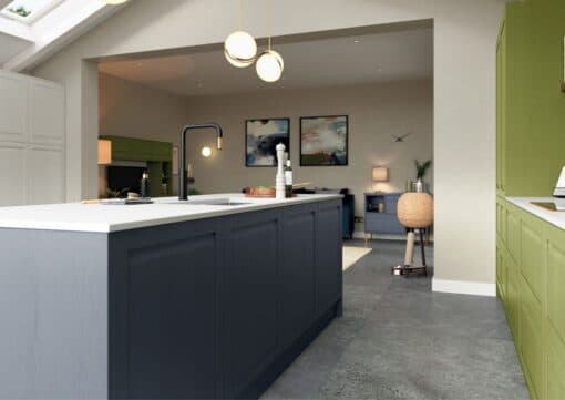 Haresfield Slate Blue, Stone and Citrus Green_Cameo 6_ - By Riley James Kitchens, Gloucestershire