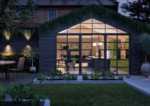 Haresfield Slate Blue, Stone and Citrus Green_Exterior Shot_ - By Riley James Kitchens, Gloucestershire
