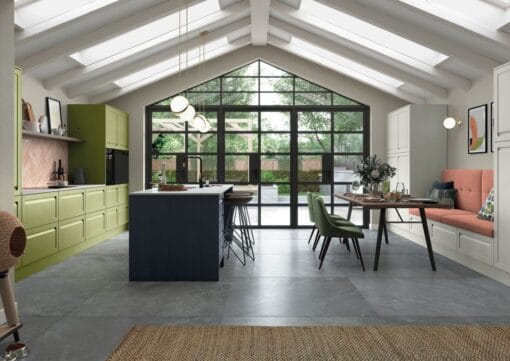 Haresfield Slate Blue, Stone and Citrus Green_Main Shot_ - By Riley James Kitchens, Gloucestershire