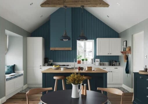 Malborough Porcelain and Marine Kitchen Cabinets, Main Shot, by Riley James Kitchens