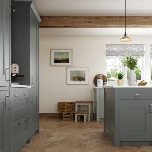The Oakridge Kitchen, in Light Blue & Gun Metal Grey from Riley James Kitchens Gloucestershire