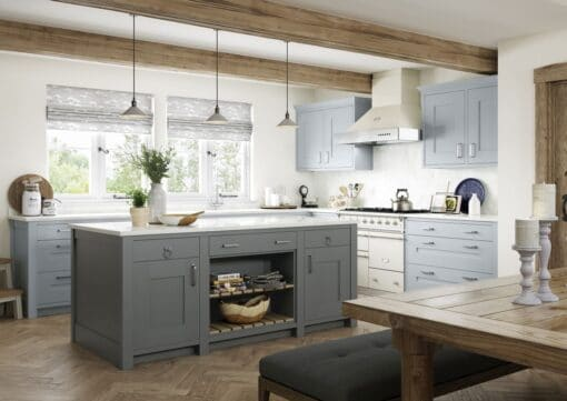 The Oakridge Kitchen, in Pantry Blue & Gun Metal Grey from Riley James Kitchens Gloucestershire