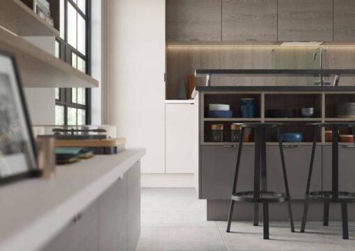 The Tetbury Kitchen - Shell & Dust Grey - Bespoke Kitchens Gloucestershire - Riley James Kitchens Stroud