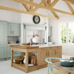 The Oakridge Kitchen, in Oak & Pantry Blue from Riley James Kitchens Gloucestershire
