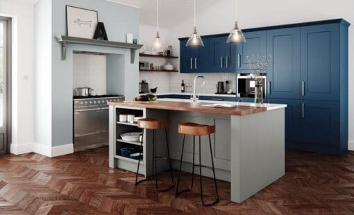 The Oakridge Kitchen, in Stone & Parisian Blue from Riley James Kitchens Gloucestershire